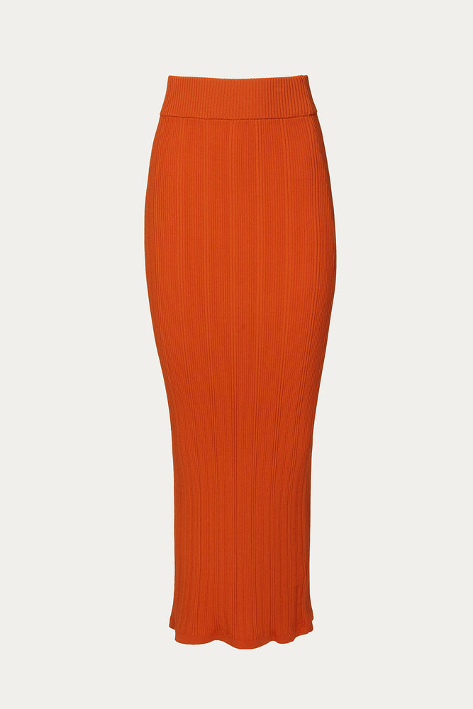 _GetTheLook, _related:nur-knit-top, Beach Vacation, Clothing, Everyday Essentials, fire, Matching Set, Matching Sets, maxi skirt, midi skirt, midi skirts, New Arrivals, orange, orange skirt, red orange ribbed knit skirt, red orange skirt, red skirt, ribbed knit maxi skirt, ribbed knit midi skirt, ribbed knit skirt, Ronny Kobo, skirt, Skirts, Special Events, Spring Separates