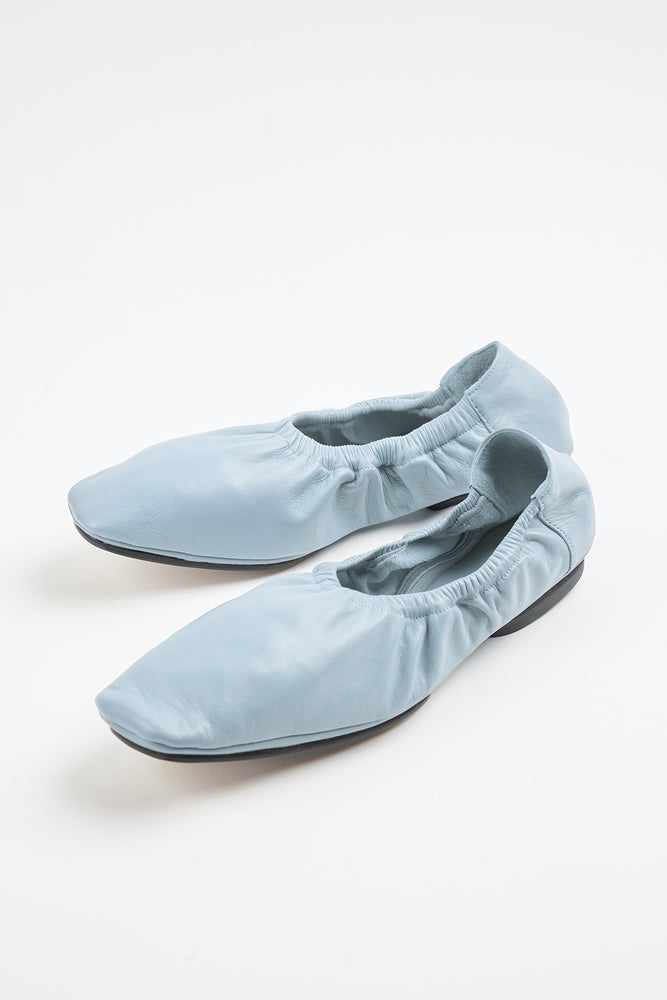 azul, ballerina, ballerina flats, blue, elastic trims, Everyday Essentials, flats, lambskin, leather, light blue, light blue flat, light blue flats, little heel, Mari Giudicelle, Mari Giudicelli, New Arrivals, pastel blue, Shoes, sky blue flats, slip ons, Spring Separates, square toe