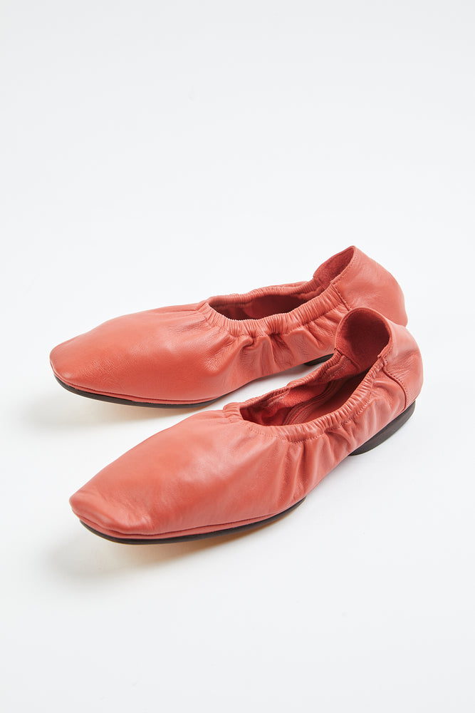 ballerina, ballerina flat, ballerina flats, coral, coral flats, elastic trims, Everyday Essentials, flat shoes, flats, flexible, lambskin, leather, leather ballerina flats, leather flat, leather flats, little heel, Mari Giudicelle, Mari Giudicelli, New Arrivals, red orange, ruched sides, Shoes, Spring Separates, square toe, square toe flats, travel shoes