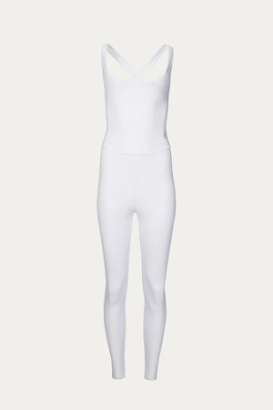 Load image into Gallery viewer, Activewear & Loungewear, Clothing, elastane, exercise, Héros, New Arrivals, polyamide, Time to Train, unitard, white, white one piece workout, white unitard, workout