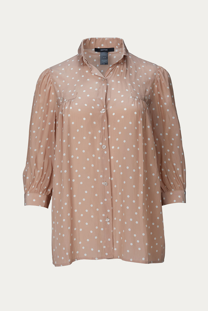 Clothing, New Arrivals, nude, nude polka dot, polka dot, polyester, Smythe, tops
