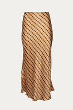 _GetTheLook, _related:leola-top, brown, burnt orange, Clothing, expresso multi, flowy skirt, fluted, fluted hem, gold, long skirt, Matching Set, Matching Sets, maxi, maxi length, maxi skirt, maxi skirts, New Arrivals, orange, printed, printed maxi skirt, Ronny Kobo, satin sheen, satin silk, shiny, silk, silk maxi skirt, silk satin, silk skirt, silky, skirt, Skirts, Special Events, Spring Separates, vintage print, warm, yellow