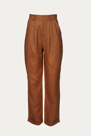 Load image into Gallery viewer, bottoms, brown, camel brown, Clothing, cognac, cuffed, cuffed hem, cuffs, Everyday Essentials, front pleats, high rise, high waist, linen, Linen pant, linen pants, New Arrivals, Pants, pleat, pleat front, pleated, pleated front, pleats, Ronny Kobo, Spring Separates, straight leg, wide leg