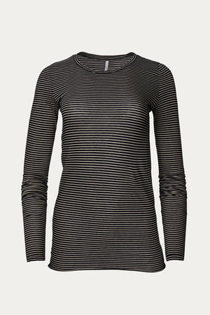 Load image into Gallery viewer, black, Clothing, Humanoid, long sleeve, New Arrivals, organic cotton, stripe, Tops, white