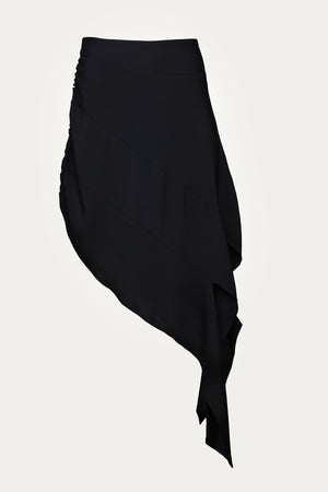 Load image into Gallery viewer, _GetTheLook, _related:eve-bodysuit, asymmetric hem, asymmetrical hem, black, black midi skirt, black mini skirt, black skirt, black skirts, byVarga, Clothing, destructed, New Arrivals, rayon, shredded, shredded skirt, Skirts, Special Events, wool