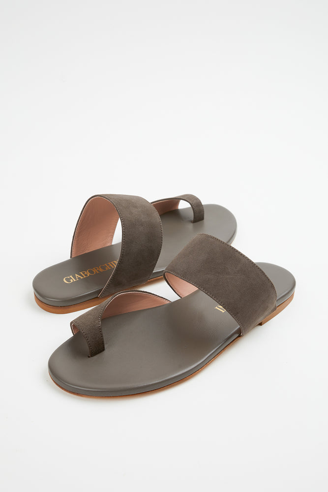 Beach Vacation, brown sandals, brown suede, brown suede sandals, Everyday Essentials, flat brown sandals, flat sandal, flat sandals, Gia Borghini, New Arrivals, sandal, sandals, Shoes, Spring Separates, suede, taupe