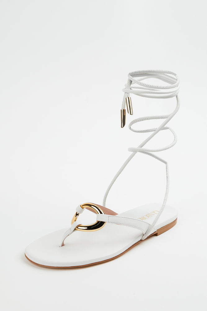 ankle wrap, ankle wrap sandals, Beach Vacation, embellished ankle wrap sandals, embellished sandals, Everyday Essentials, flat sandals, flats, Gia Borghini, gold ring, leather, New Arrivals, sandals, Shoes, Spring Separates, white, white leather, white sandal, white sandals