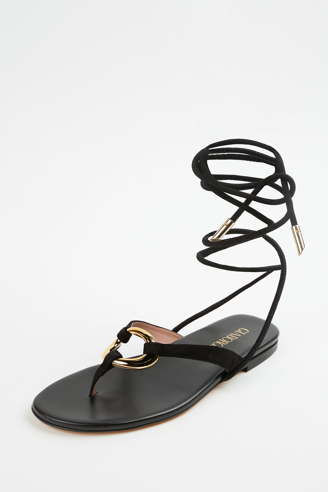 ankle wrap, ankle wrap sandals, Beach Vacation, black, black ankle wrap sandals, black leather, black leather sandals, black sandals, embellished sandals, Everyday Essentials, flat sandals, Gia Borghini, New Arrivals, sandals, Shoes, Spring Separates, suede