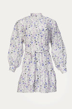 Beach Vacation, button down dress, button front mini dress, button up dress, Clothing, cotton, Dresses, Everyday Essentials, floral, lavender, lavender floral, lilac floral, long sleeve mini dress, long sleeves, New Arrivals, purple floral, purple florals, purple wild flowers, shirt dress, silk, Special Events, Spring Separates, THE KOOPLES, tie waist, viscose, waist tie, white, white floral mini dress, white long sleeve mini dress