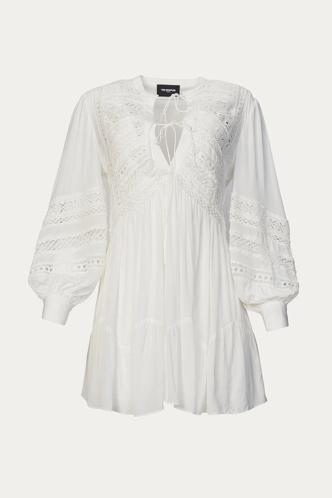 Beach Vacation, bohemian dress, Clothing, cotton, dresses, embroidered, Everyday Essentials, French lace, lace, long sleeve, long sleeve dress, long sleeve mini dress, long sleeves, mini dress, mini dresses, neck tie, New Arrivals, Special Events, special occasion, spring dresses, Spring Separates, summer dresses, THE KOOPLES, v neck, viscose, White, white bohemian dress, white dress, white dresses, white mini dress, white summer dress