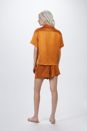 Load image into Gallery viewer, _GetTheLook, _related:zurich-shorts, Asceno, blouse, brown, burnt orange, button down, button up, caramel, Clothing, collar, collared, cuban collar, Matching Set, Matching Sets, New Arrivals, open collar, orang, orange, peach, pure silk, relaxed fit, sandwiched silk, satin, shiny, shirt, Shirts, short sleeve, short sleeved, short sleeves, silk, silky, top, tops