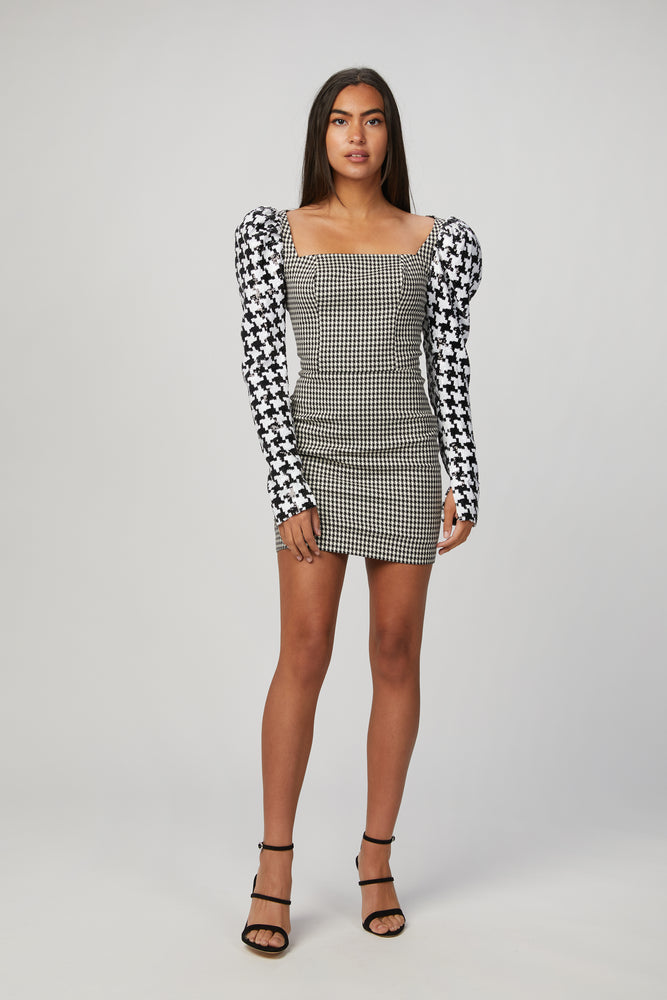 In The Mood For Love Houndstooth Leonard Dress - Shop Now