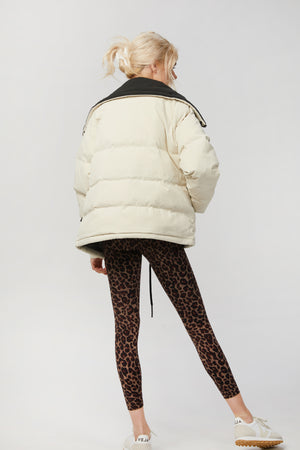 Load image into Gallery viewer, _GetTheLook, _related:blackburn-legging-1, _related:blackburn-legging-2, _related:DELTA-BRA, beige, black, black and white, Clothing, cream, down, ivory, Jackets & Coats, leopard, leopard motif, leopard print, neutral, neutrals, off white, puff, puff jacket, puffy, puffy jacket, tan, Varley, white