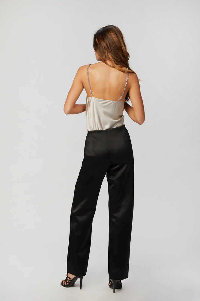 Load image into Gallery viewer, _GetTheLook, _related:NINE-2-FIVER-HIGH-HEEL, _related:THE-DANIELLE, black, blouse, bralette, Cami NYC, Clothing, connected bralette, cowl neck, cowl neckline, cowlneck, elastic wrist, interior bralette, keyhole, lace, lace bodice, lace bralette, long sleeve, long sleeved, long sleeves, shirt, silk, silk double georgette, silky, solid, tops