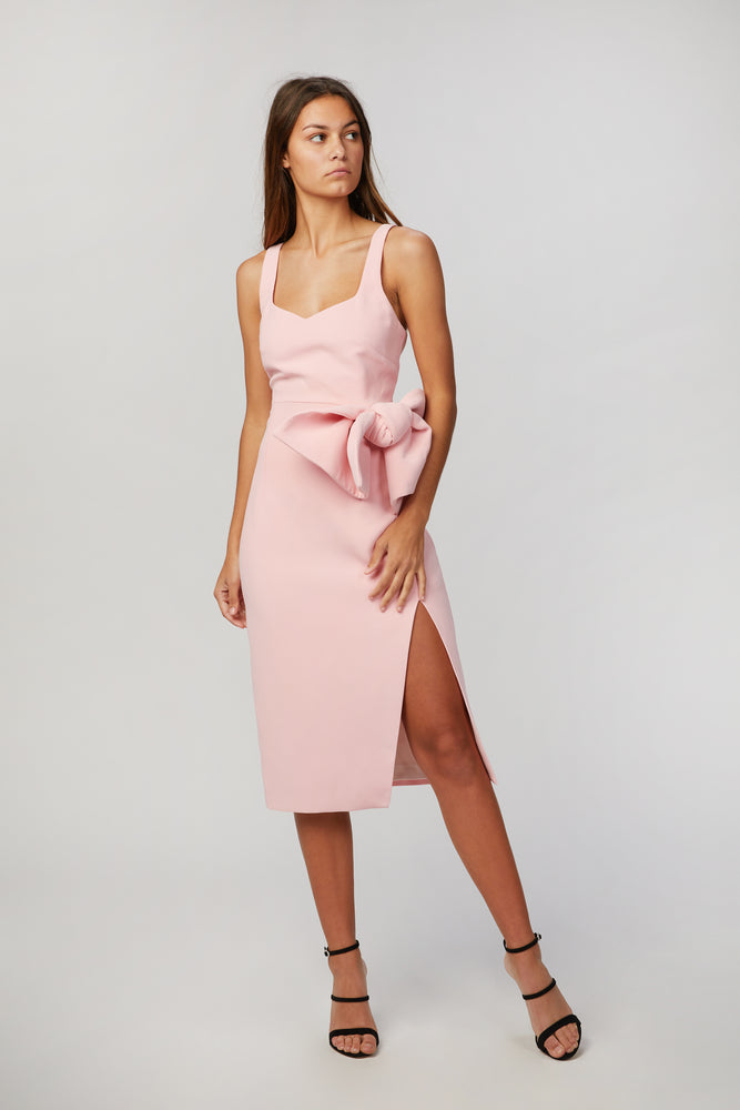 BY JOHNNY - BETINA BOW SPLIT MIDI DRESS
