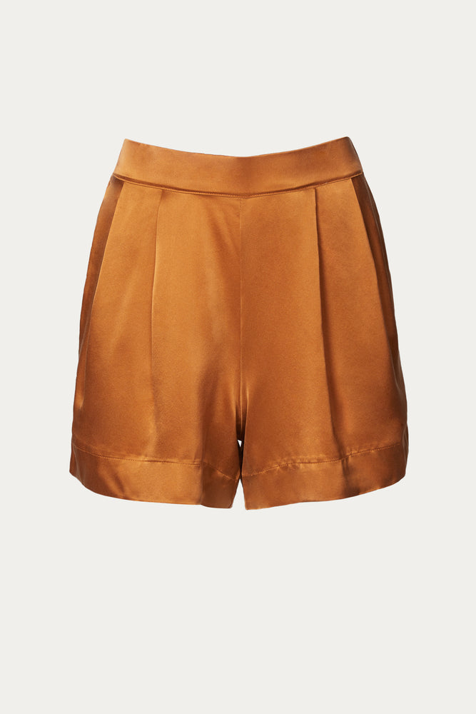 _GetTheLook, _related:prague-2, Asceno, Beach Vacation, brown, burnt orange, caramel, Clothing, elastic, elastic waist, Everyday Essentials, high rise, high waist, high waisted, long, long shorts, Matching Sets, orange, pleated, pleated front, pleats, pockets, relaxed fit, satin, shiny, Shorts, silk, silky, slip pockets, Spring Separates, super high rise, super high waisted, ultra high rise, ultra high waisted, wide leg, wide legs