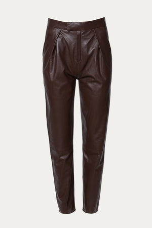 Load image into Gallery viewer, ZEYNEP ARCAY - PLEATED LEATHER PANTS