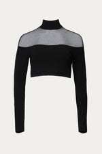 _GetTheLook, _related:whitney-gemstone-heart-earrings, Black, Clothing, crop, crop top, cropped, cropped hem, knit, long sleeve, long sleeves, longsleeve, mesh, mesh paneling, mesh panels, mock neck, see through, sexy, Sheer, sheer blouse, sheer panel, sheer top, shirt, Shirts, Special Events, stretch, stretch polyester, top, tops, turtleneck, Zeynep  arcay