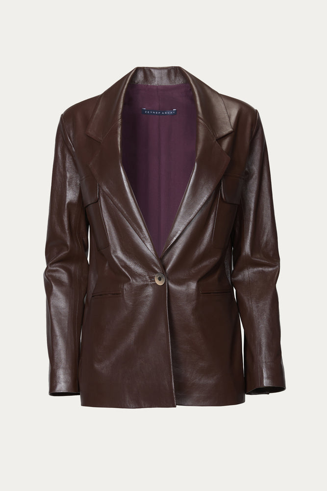_GetTheLook, _related:pleated-leather-pants, blazer, blazers, brown, button closure, Clothing, dark purple, deep purple, Everyday Essentials, jacket, Jackets & Coats, lambskin, lambskin leather, leather, Matching Set, Matching Sets, Matching suit, oversized, plum, purple, Special Events, suit, suit jacket, tops, Zeynep Arcay