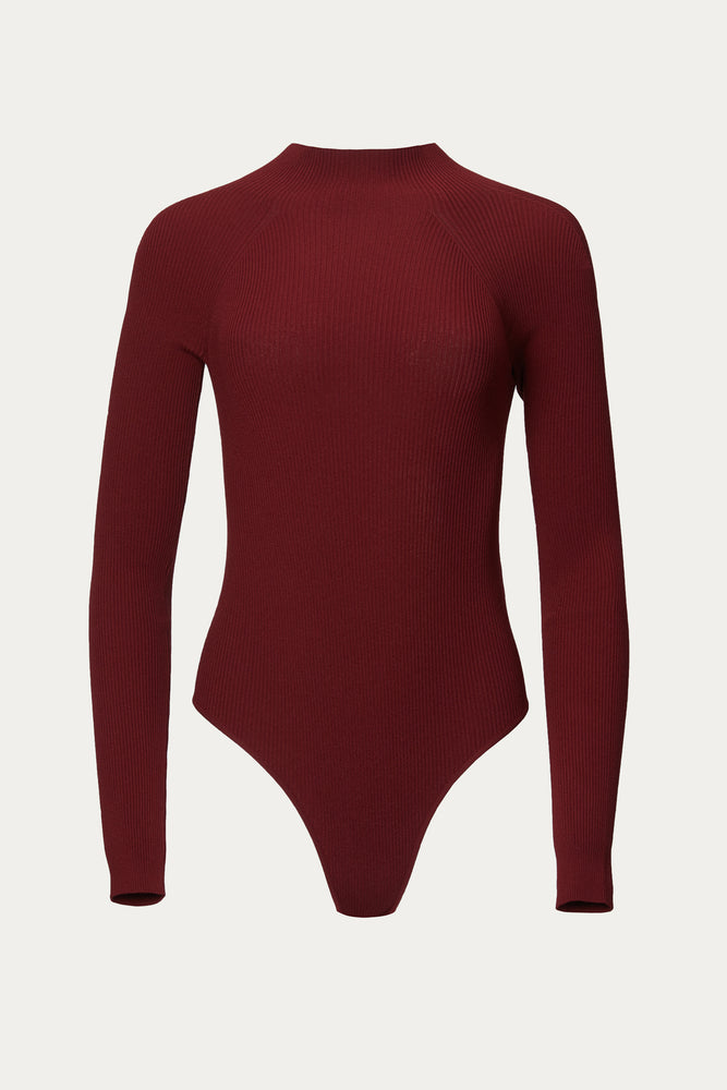 back cutout, Bodysuits, brown, burnt orange, burnt red, cherry, cherry red, close fit, Clothing, cutout, cutout back, cutout design, cutout detail, cutouts, dark brown, deep red, Everyday Essentials, form fitting, knit, long sleeve, long sleeve bodysuit, long sleeved, long sleeves, maroon, melange brown, mocha brown, mock neck, open back, polyester, red, rib, ribbed, rust, stretch, tan, top, tops, turtleneck, viscose, Zeynep Arcay