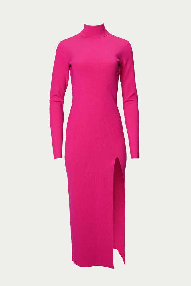 bright pink, Clothing, Dress, dresses, electric pink, form fitting, fuschia, high leg slit, high leg split, hot pink, hot pink turtleneck, knit, knitted, long, midi, pink, polyester, side slit, slit, Special Events, Spring Separates, stretch, tight, turtleneck, viscose, viscose blend, Zeynep  arcay