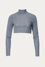 blue, Clothing, crop, crop top, cropped, cropped hem, form fitting, glitter, gray, green, grey, light blue, long sleeve, long sleeves, polyester, shimmer, stretch, stretch polyester, tight, Tops, turtleneck, viscose, Zeynep  arcay
