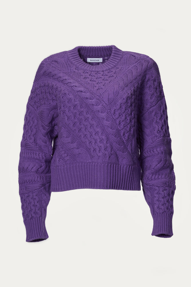bright purple, cable knit, cableknit, cashmere, cashmere blend, chunk cable, chunky, Clothing, crew neckline, crewneck, dark purple, deep purple, knit, knitwear, light purple, naadam, purple, relaxed fit, roundneck, shirt, Shirts, Sweaters, Sweaters & Knits, top, tops, wool