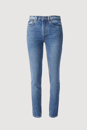 Load image into Gallery viewer, _GetTheLook, _related:heeled-western-boot-with-buckle, _related:ROSIE-TOP, ankle, ankle jean, blue denim, BOYISH, Clothing, conversation, denim, Everyday Essentials, high rise, high waist, high waisted, jean, Jeans, organic cotton, Pants, recycled cotton, rigid, skinny, tapered, tapered ankle, tencel