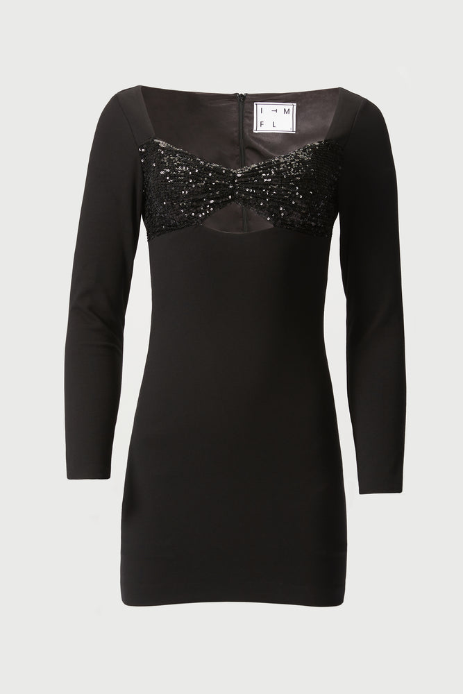 Long sleeve, black mini dress with sequined chest decollete.