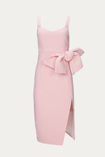 bow, BY JOHNNY, Clothing, detail, dress, dresses, dressy, exposed zipper, feminine, high leg split, high slit, large bow, long, mid weight, midi, pastel, pastel pink, pencil, pink, polyester, rose, sleeveless, slit, spandex, Special Events, Spring Separates, thick straps, weave fabrication, zip closure