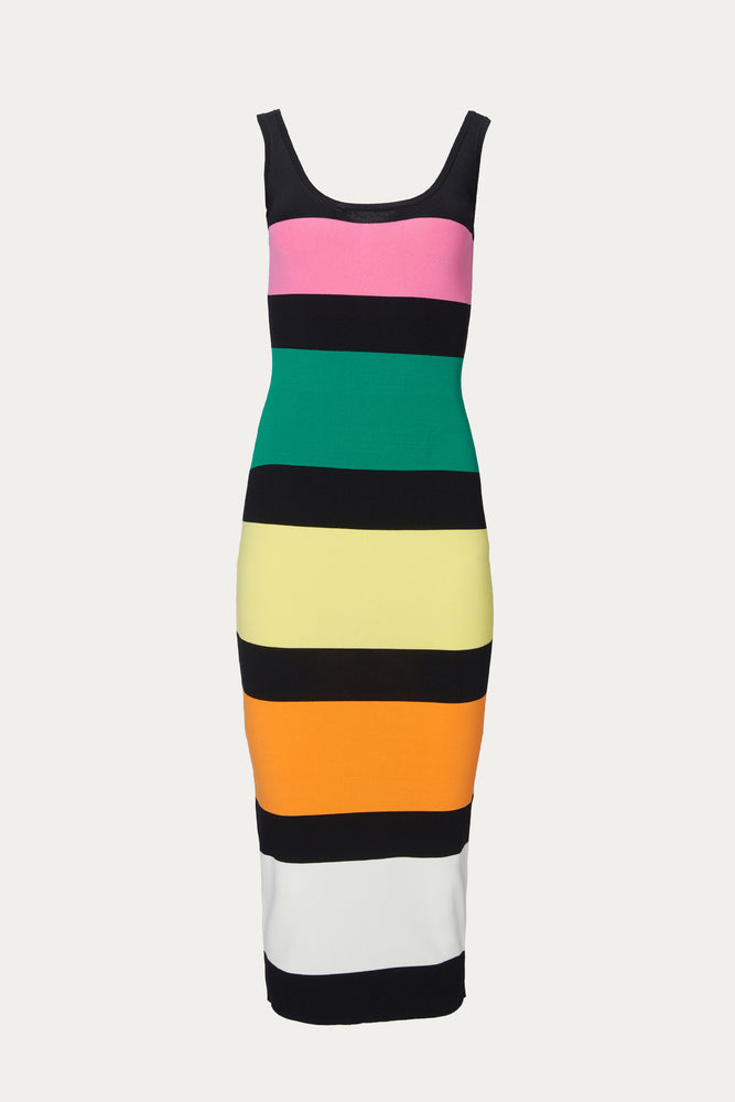 Beach Vacation, black, BY JOHNNY, Clothing, colorblock, dress, dresses, form fitting, green, knit, mid weight, midi, mini dress, multi color, multicolor, orange, pink, sleeveless, Special Events, Spring Separates, stripes, thick straps, tight, white, yellow