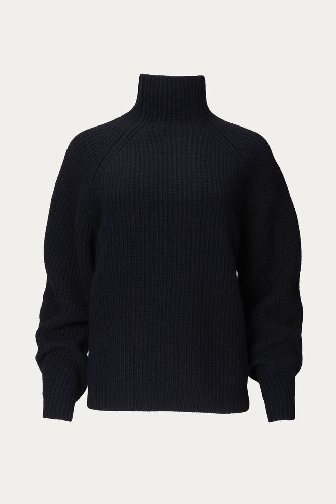 High Neck Long Sleeve Knit Sweater in Black.