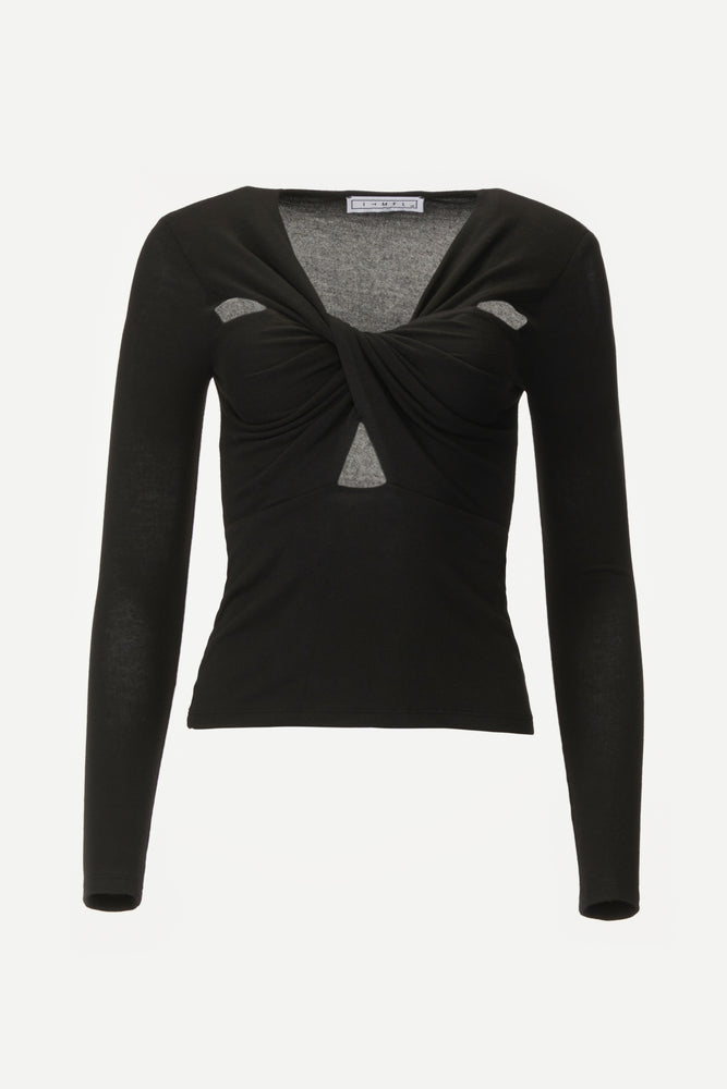 Long sleeve black top with wrap front detail.