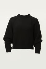 Round Neck Long Sleeve Knit Sweater in Black