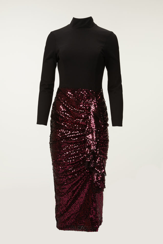 Black high neck, long sleeve with burgundy sequined ruffle skirt, midi dress