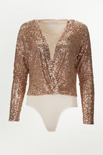 Long sleeve rose gold sequined top with a deep v-neck