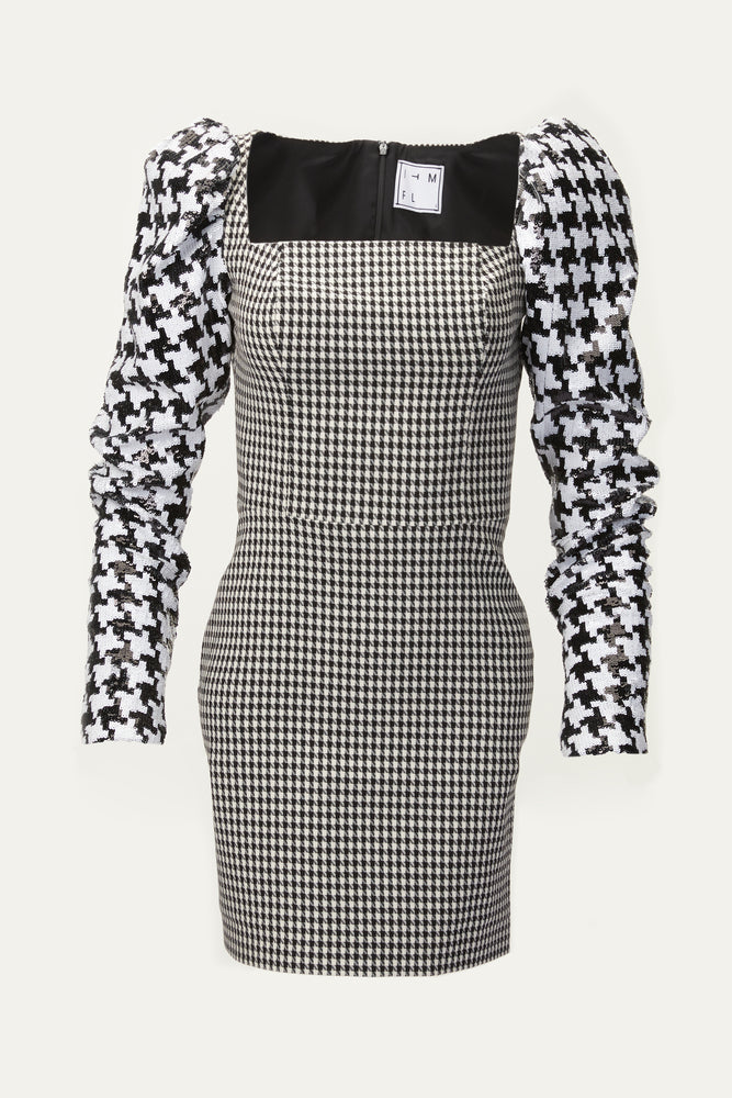 Houndstooth mini dress with sequined puff sleeves