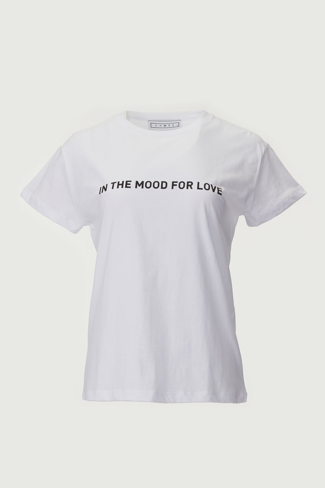 "White Tee with ""In The Mood For Love"" logo in block letters across the chest."