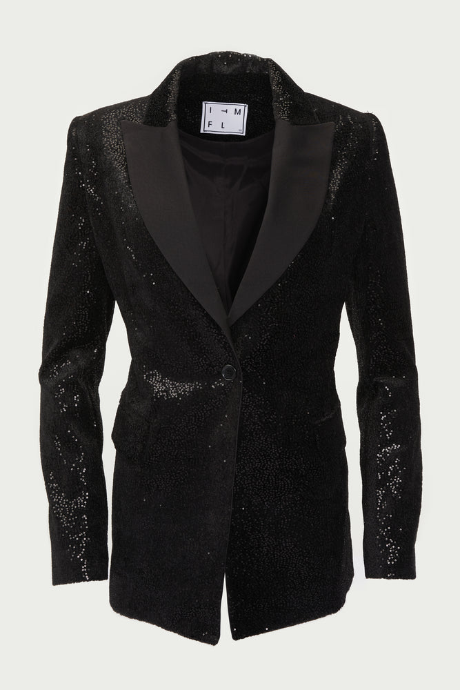 Black, sequined blazer with satin lapel.