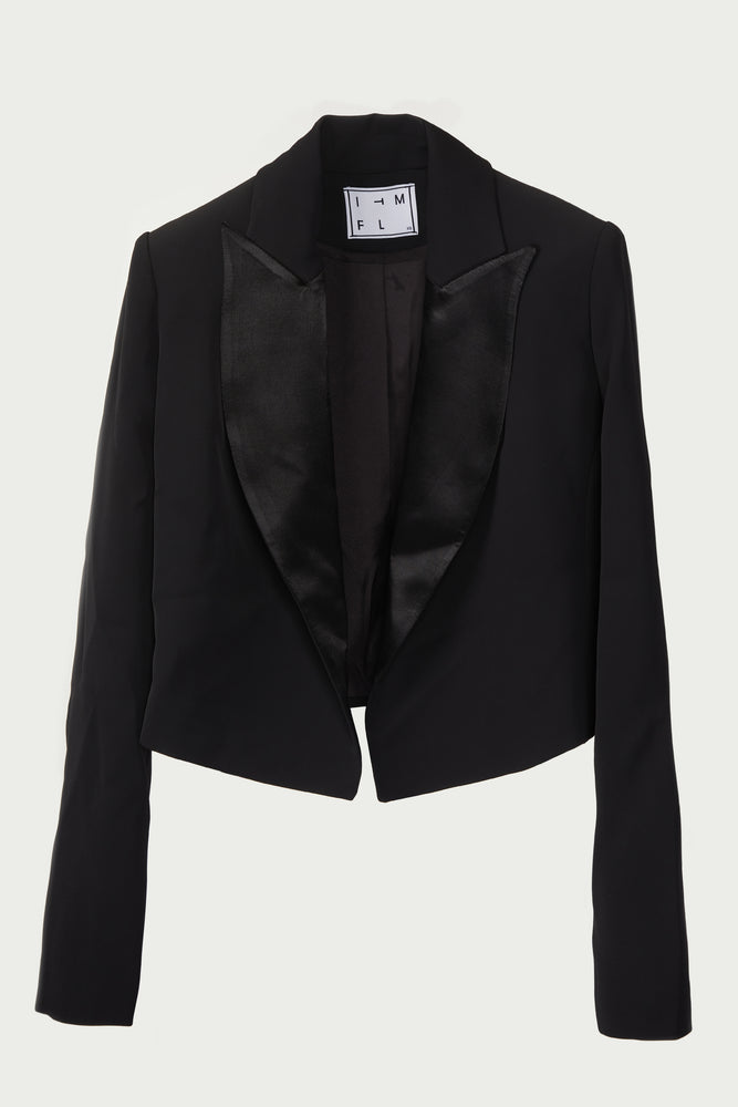 black long sleeve, cropped jacket with satin lapel.