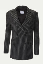 Dark grey, long double-breasted blazer with pinstripes