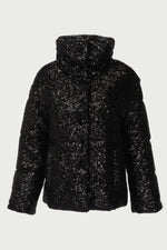 Black sequined puffer jacket