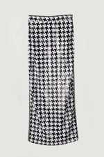 Sequined black and white houndstooth long pencil skirt.