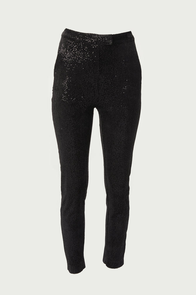 Black sequined straight leg trousers