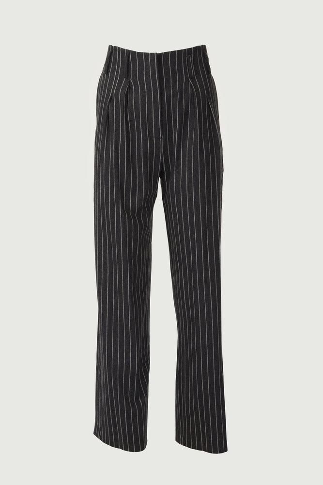 Black high-wasted trousers with white pinstripes