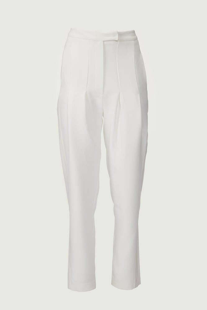 White tuxedo trousers with satin side trimming.