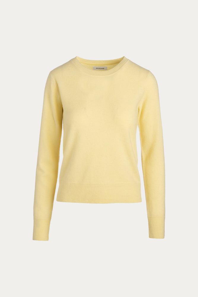 _GetTheLook, _related:odele-hoops, _related:rainbow-huggie, canary yellow, cashmere, classic, Clothing, crewneck, Everyday Essentials, knit, knitwear, light yellow, long sleeve, long sleeved, long sleeves, Naadam, pale yellow, pastel yellow, pure cashmere, ribbing, round neck, roundneck, shirt, Shirts, slim fit, solid, Spring Separates, sweater, Sweaters & Knits, top, tops, yellow