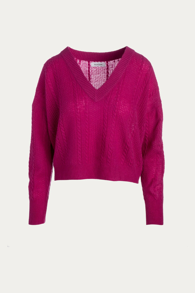 cable knit, cableknit, cashmere, cashmere blend, Clothing, electric pink, fuchsia, fuchsia pink, knit, knitwear, long sleeve, long sleeved, long sleeves, naadam, pink, purple, shirt, Shirts, Sweaters, Sweaters & Knits, thin sweater, top, tops, v neckline, v-neck, wool, wool blend
