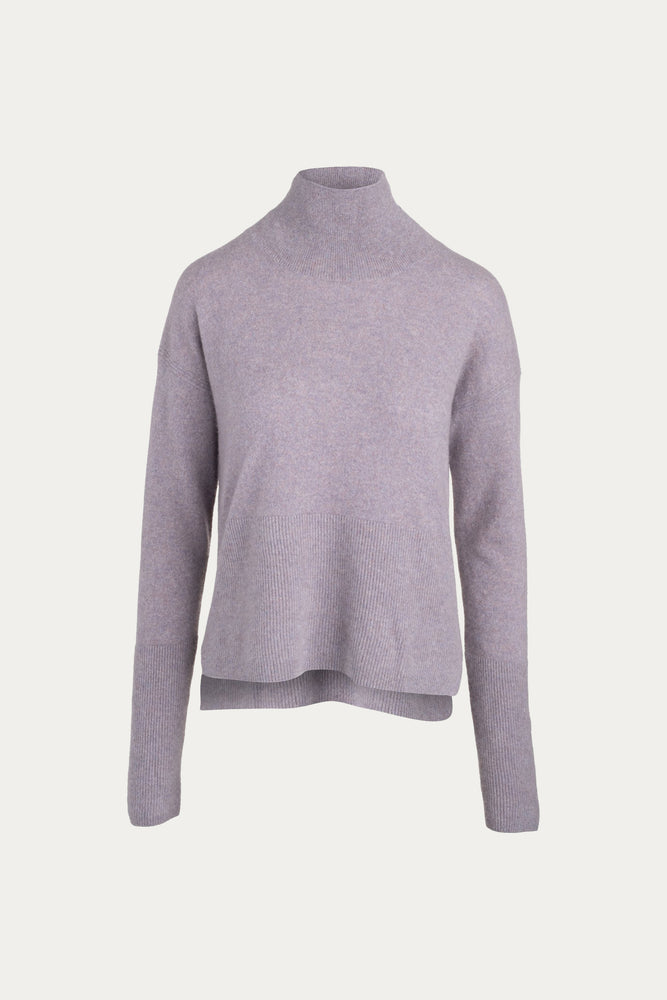 _GetTheLook, _related:plant-gemstone-chain-stud, cashmere, Clothing, Everyday Essentials, gray, grey, high low, high neck, high neckline, knit, knitwear, lavendar, lavender, light purple, long sleeve, long sleeved, long sleeves, mock neck, naadam, pale lavender, pastel purple, pure cashmere, purple, relaxed fit, shirt, Shirts, side slits, Sweaters, Sweaters & Knits, top, tops, turtleneck, turtleneck sweater