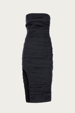 black, Clothing, cotton, Dress, Dresses, elastane, high leg slit, high leg split, layers, midi, midi dress, midi length, New Arrivals, polyamide, ruched, ruched dress, ruched midi dress, ruched midi dresses, ruching, sleeveless, Special Events, Spring Separates, strapless, thigh slit, thigh split, Zeynep  arcay